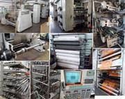 Шестицветная печатная флексомашина и монтажный стол клише